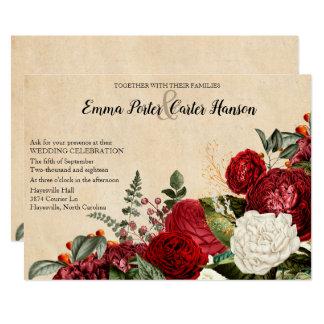 Burgundy Red Roses and Leaves Vintage Wedding Card
