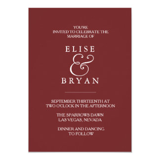 Burgundy Red Simple Modern Elegant Wedding Invite
