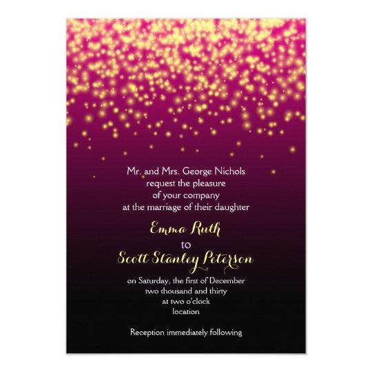 Burgundy red sparkling lights in the sky wedding