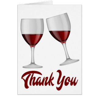 Burgundy Red Thank You Wine / Champagne Glasses Card