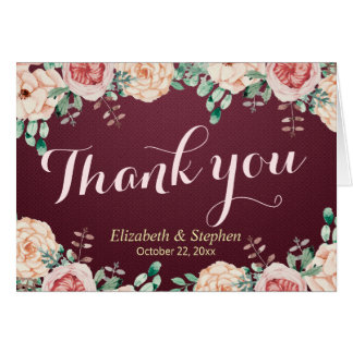 Burgundy Red Watercolor Floral Wedding Thank You Card