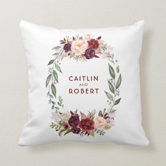 Burgundy Red Watercolor Flowers Elegant Romantic Cushion