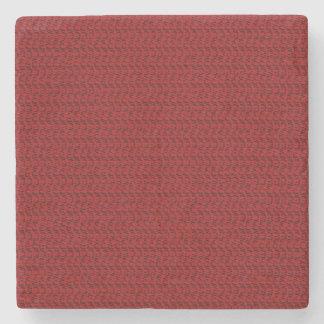 Burgundy Red Weave Mesh Look Stone Coaster