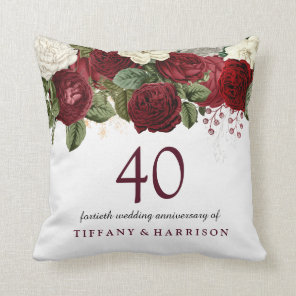 Burgundy Red White Rose 40th Wedding Anniversary Cushion