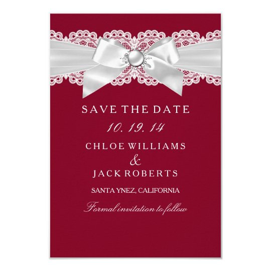 Burgundy Red White Wedding Pearl Bow Save The