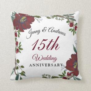 Burgundy Red Wreath 15th Wedding Anniversary Gift Cushion