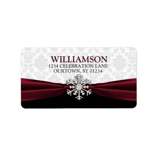 Burgundy Ribbon Address Labels