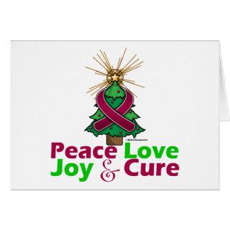 Burgundy Ribbon Christmas Peace Love, Joy & Cure Greeting Card