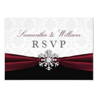 Burgundy Ribbon Winter Wedding RSVP Announcement