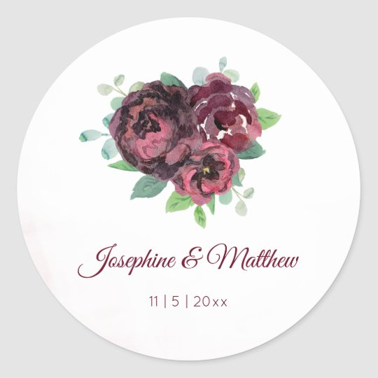 Burgundy Rose Bouquet Watercolor Wedding Stickers