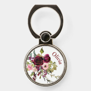 Burgundy Rose Floral Bouquet Monogram Phone Ring Stand