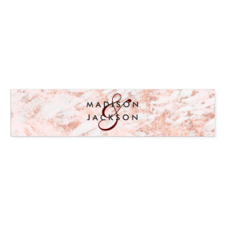 Burgundy & Rose Gold Marble Wedding Monogram Napkin Band