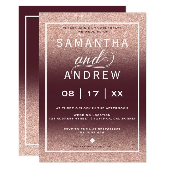 Burgundy rose gold typography wedding card