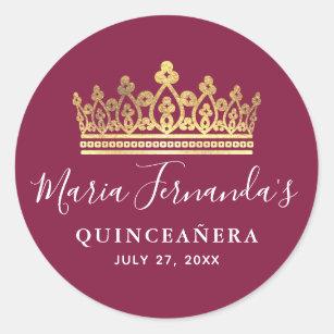 Burgundy Rose Gold Watercolor Elegant Quinceanera Classic Round Sticker