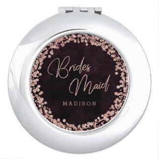 Burgundy & Rose Gold Wedding Wedding Bridesmaid Makeup Mirror