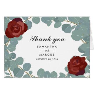 Burgundy Rose Wreath Greenery Wedding Thank You Card