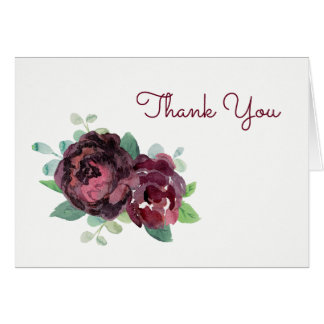 Burgundy Roses Thank You Card
