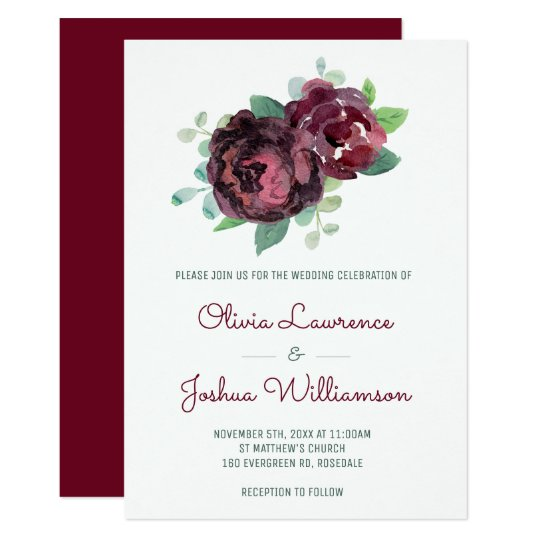 Burgundy Roses Watercolor Wedding Invitations