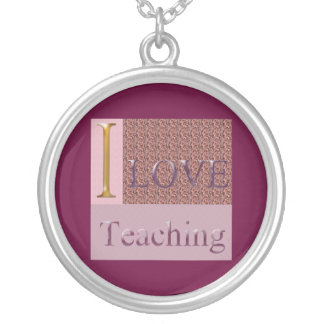 Burgundy Round Pendant I Love Teaching Necklace