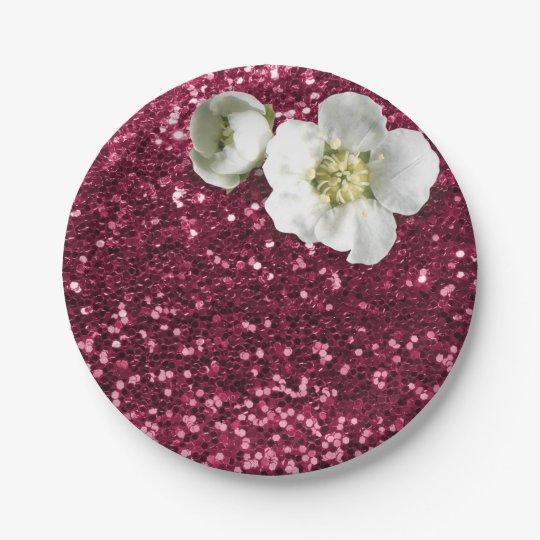 Burgundy Ruby Floral White Jasmine Glitter Paper Plate