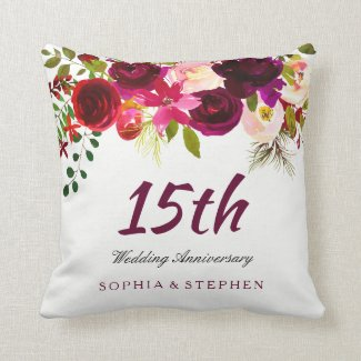 Burgundy Ruby Red Floral 15th Wedding Anniversary Cushion