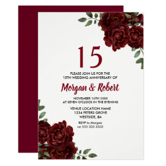 Burgundy Ruby Red Rose 15th Wedding Anniversary Card