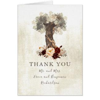 Burgundy Rustic Flowers Tree Wedding Thank You Card