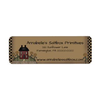Burgundy Saltbox & Sunflowers Personalized Address