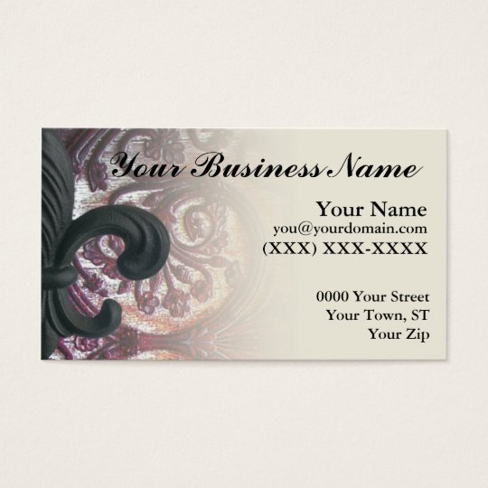 "burgundy/sand ""iron fleur de lis"" business card"