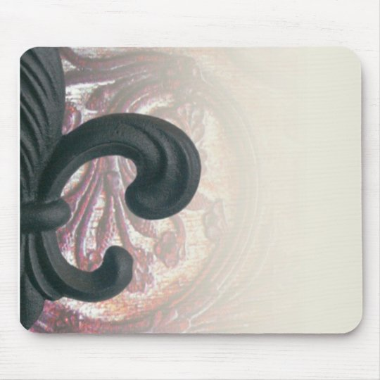 "burgundy/sand ""iron fleur de lis"" mousepad"