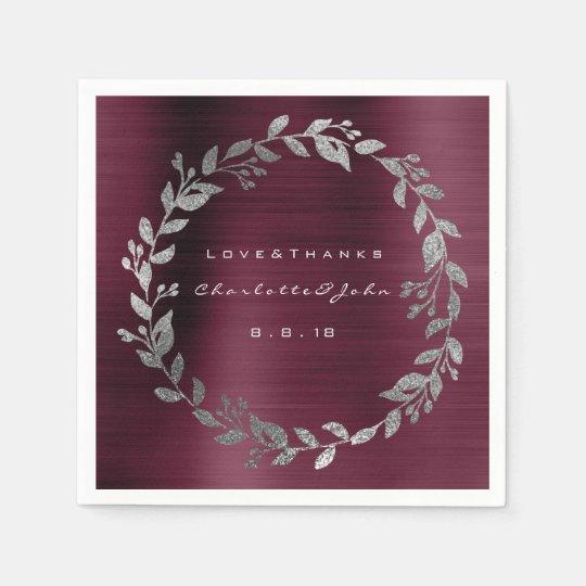 Burgundy Shimmering Urban Silver Wreath Name Paper Napkin