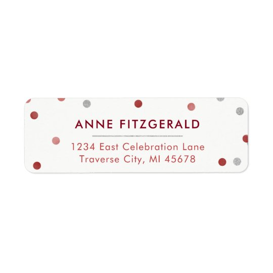 Burgundy & Silver Confetti Return Address Labels