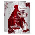Burgundy Silver Dress masquerade Quinceanera mask Card