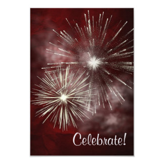 Burgundy Silver Fireworks New Years Eve Party 9 Cm X 13 Cm Invitation Card