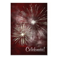 Burgundy Silver Fireworks New Years Eve Party