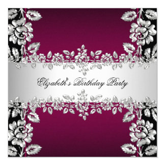 Burgundy Silver Floral Black Birthday Party Card