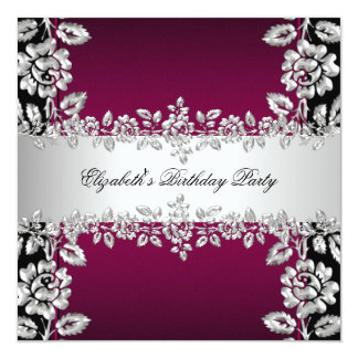 Burgundy Silver Floral Black Birthday Party Personalized Invite