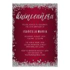 Burgundy Silver Glitter Quinceanera 15th Birthday Card