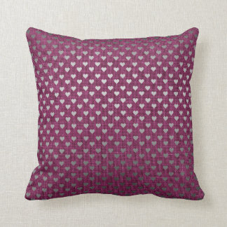 Burgundy Silver Gray Metallic Hearts Linen Cottage Cushion