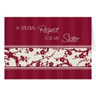 Burgundy Sister Maid of Honor Invitation Card