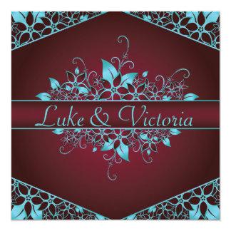 Burgundy Sky Blue Floral Elegant Wedding 13 Cm X 13 Cm Square Invitation Card
