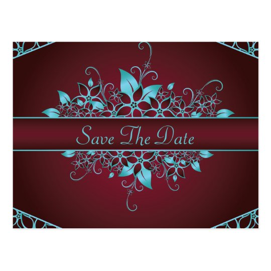 Burgundy Sky Blue Floral Elegant Wedding Postcard