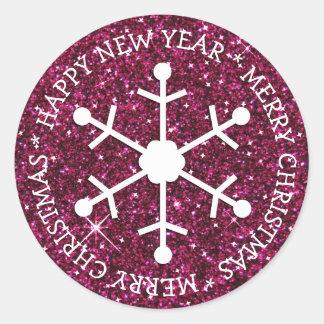 Burgundy Snowflake Merry Christmas Sticker