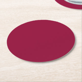 Burgundy Solid Color Round Paper Coaster