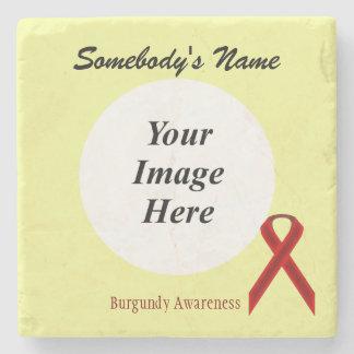 Burgundy Standard Ribbon by Kenneth Yoncich Stone Beverage Coaster