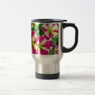 Burgundy Star Petunias Travel Mug