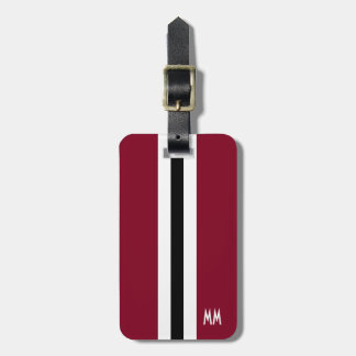 Burgundy Stripe Monogram Luggage Tag for Men