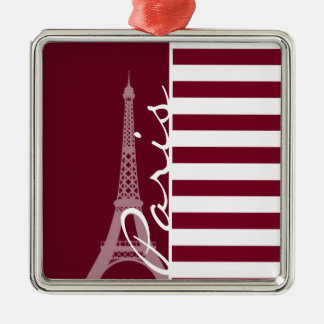 Burgundy Stripes; Eiffel Tower Silver-Colored Square Decoration