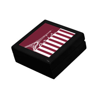 Burgundy Stripes; Eiffel Tower Small Square Gift Box