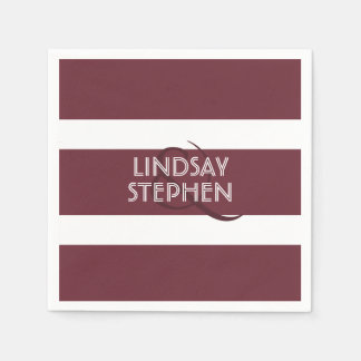 Burgundy Stripes Elegant Wedding Paper Napkin